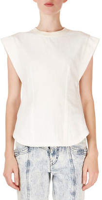 Isabel Marant Yelena Cap-Sleeve Tee with Keyhole Back