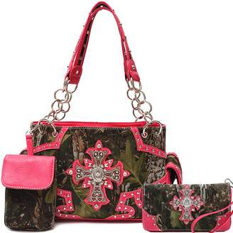 Cowgirl Trendy Western Cross Camouflage Purse Shoulder Bag Handbag Phone Case Matching Wallet 3in1 Set