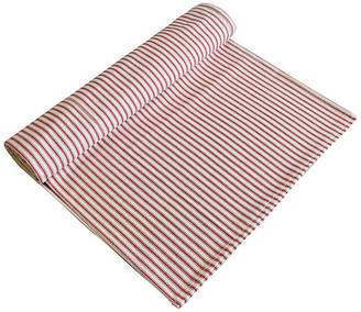 One Kings Lane Vintage French Red & Ivory Ticking Table Runner