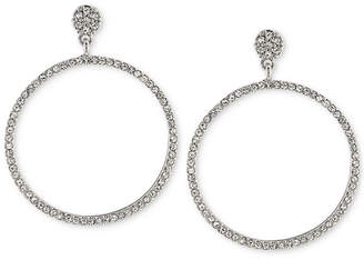 "Carolee Silver-Tone Pave Gypsy 1 3/4"" Hoop Earrings"