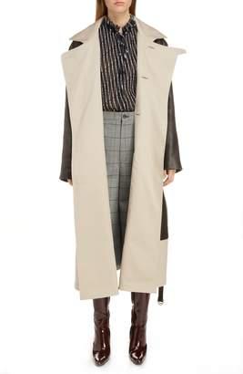 Balenciaga Layered Leather & Canvas Coat