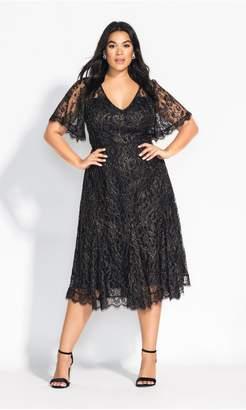 City Chic Citychic Metallic Swing Dress - black