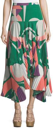 Alexis Liann Pleated High-Low Midi Skirt