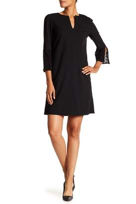 Lafayette 148 New York Deandra Lace Sleeve Split Neck Dress