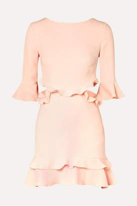 Rachel Zoe Karly Cutout Ruffled Crepe Mini Dress - Pastel pink