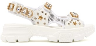 f6143f129480 Gucci Aguru Crystal Embellished Leather And Mesh Sandals - Womens - White