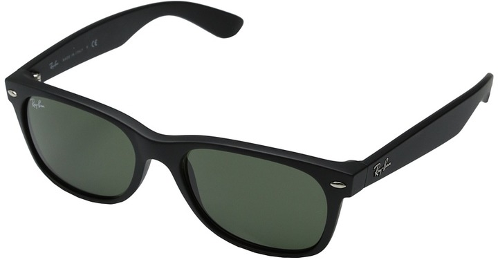 Ray-Ban - 2132 New Wayfarer 55 Large (Black Rubber Frame/Green Lens) - Eyewear