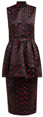 Simone Rocha Peplum Panel Floral Embroidered Satin Dress - Womens - Black Red