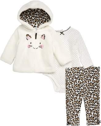 Little Me Leopard Faux Fur Hoodie, Bodysuit & Leggings Set