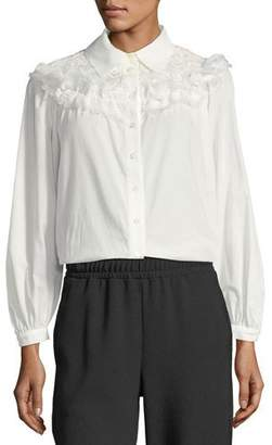 See by Chloe Button-Front Cotton Blouse with Ruffled Trim