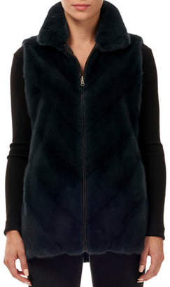 Gorski Reversible Chevron Mink-Fur Taffeta Vest w/ Stand Collar