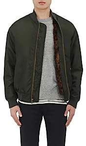 Mr & Mrs Italy MEN'S MINK-FUR-LINED BOMBER JACKET-DK. GREEN SIZE XL