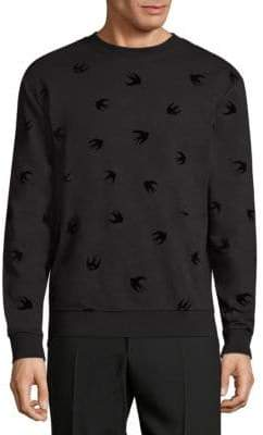 McQ Men's Bird-Print Sweatshirt - Dark Navy - Size Small