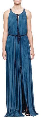 Lanvin Tassel Drawstring-Neck Slit Maxi Dress, Ocean Blue $2,985 thestylecure.com