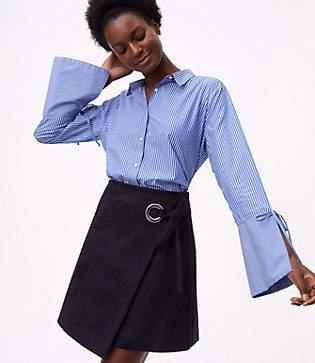 LOFT Striped Tie Bell Sleeve Shirt