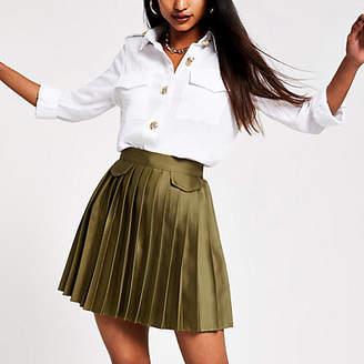 River Island Petite khaki pleated mini skirt