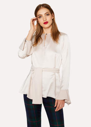 Paul Smith Women's Ivory Keyhole-Front Satin Top With Belt Detail