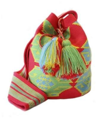 La Maree Orange, Green Yellow Cotton Cartagena Mochila Tassel Bag