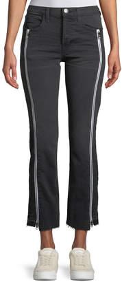 Current/Elliott The Dallon Mid-Rise Straight-Leg Jeans with Zipper Details