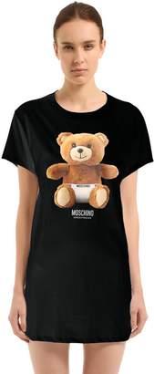 Teddy Bear Cotton Jersey Maxi T-Shirt