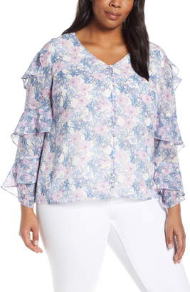 Vince Camuto Charming Floral Tiered Sleeve Top