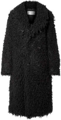 Saint Laurent Oversized Double-breasted Faux Shearling Coat - Black