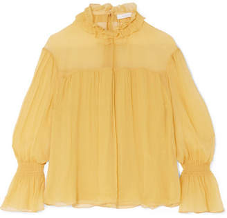See by Chloe Shirred Silk-georgette Blouse - Yellow