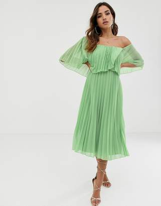 Asos Design DESIGN pleated bandeau midi dress with double layer