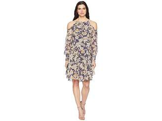 Donna Morgan Long Sleeve Printed Chiffon with Cold Shoulder and Drop Waist Women's Dress