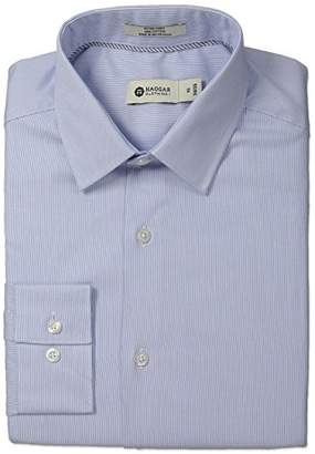 Haggar Men's Hairline Stripe Point Collar Regular Fit Long Sleeve Dress Shirt