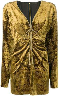 Dundas velvet burnout mini plunge dress