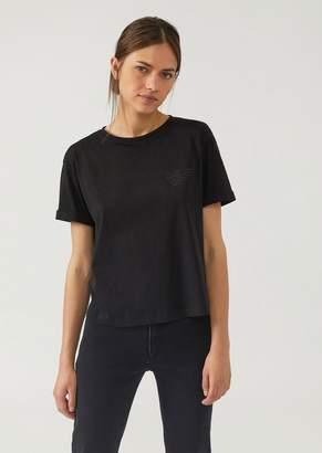 Emporio Armani Short T-Shirt With Sequin Eagle