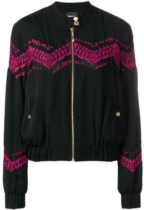 Just Cavalli embroidered detail bomber jacket