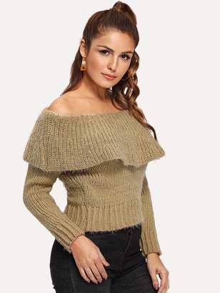 Shein Foldover Front Off Shoulder Sweater
