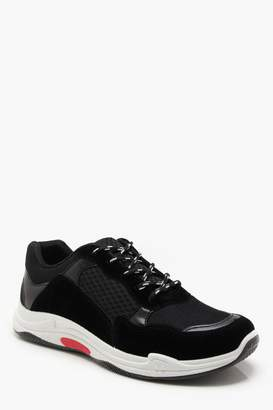 boohoo Faux Suede Panelled Chunky Trainer