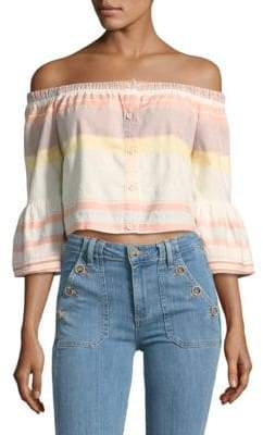 Mother Striped Off-The-Shoulder Cotton Top