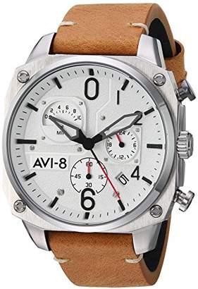 Hunter AVI-8 Men's 'Hawker Hunter' Quartz Stainless Steel and Leather Aviator Watch