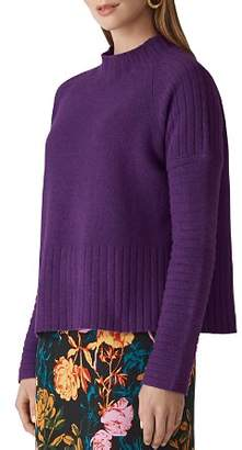 Whistles Boxy Wool Ribbed Detail Sweater
