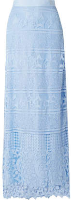 Miguelina Asher Grosgrain-trimmed Guipure Lace Maxi Skirt - Light blue
