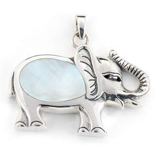 Mother of Pearl Samuel B Jewelry Sterling Silver Inlay Elephant Pendant