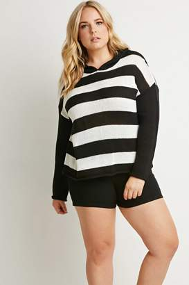 Forever 21 Plus Size Hooded Stripe Sweater