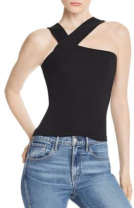 LnA Ziggy Asymmetric Rib-Knit Top