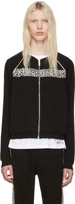 Alexander McQueen Black Leopard Track Jacket $595 thestylecure.com