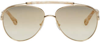 Gold and Tortoiseshell Aviator Sunglasses
