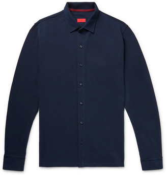 Isaia Cotton-Pique Shirt - Men - Blue