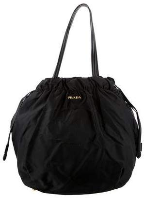 Prada Nylon Embroidered Bucket Tote