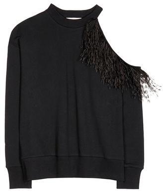 Ostrich feather cotton sweatshirt