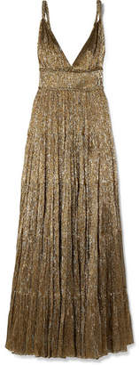 Oscar de la Renta Tiered Silk-blend Lamé Gown - Gold