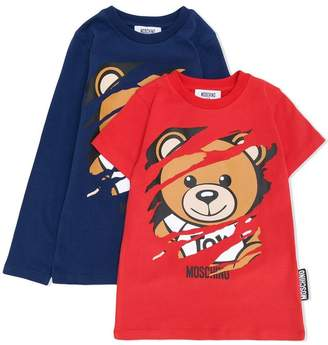 Moschino Kids scratched teddy print top