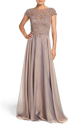 La Femme Embellished Lace & Satin Ballgown